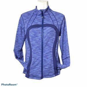 Lululemon DEFINE Jacket size 10 Purple Blue Wee Stripe Vented Thumb Holes